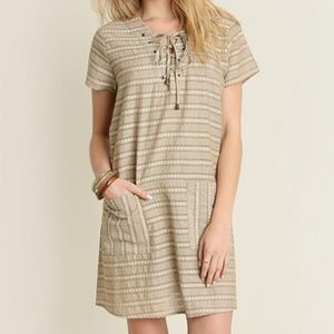 Umgee Striped Shift Dress with Pocket Detail